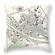 City Map Or Plan Of Florence Or Firenze Throw Pillow