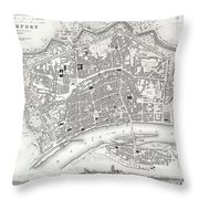 City Map Or Plan Of Frankfort Germany Throw Pillow