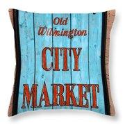 City Market Sign Throw Pillow