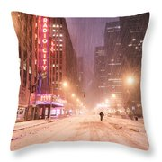 City Night In The Snow - New York City Throw Pillow