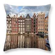 City Of Amsterdam At Sunset In Netherlands Throw Pillow
