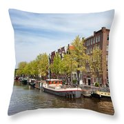 City Of Amsterdam In The Netherlands Throw Pillow