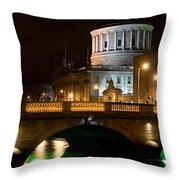 City Of Dublin At Night In Ireland Throw Pillow