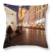 City Of Krakow By Night In Poland Throw Pillow