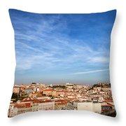 City Of Lisbon At Sunset Throw Pillow