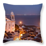 City Of Lisbon In Portugal At Night Throw Pillow