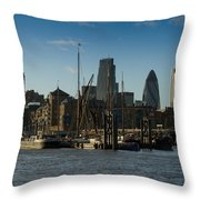City Of London River Barges Wapping Throw Pillow