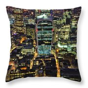 City Of London Skyline At Night Throw Pillow