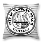 City Of Newport Beach Sign Black And White Picture Throw Pillow
