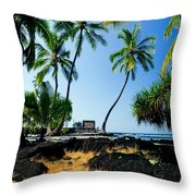 City Of Refuge - A View Of A Hawaiian Traditional House  Throw Pillow