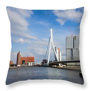 City Of Rotterdam Cityscape In Netherlands Throw Pillow
