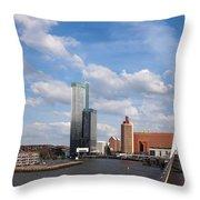 City Of Rotterdam From Erasmus Bridge Throw Pillow