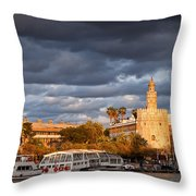 City Of Seville At Sunset Throw Pillow