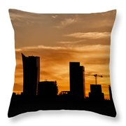City Of Warsaw Skyline Silhouette Throw Pillow