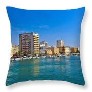 City Of Zadar Waterfront And Harbor Throw Pillow