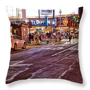 City Scene - Crossing The Street - The Lights Of New York Throw Pillow