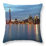 City Skyline At Dusk From Centre Throw Pillow