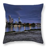 City Skyline At Night Throw Pillow