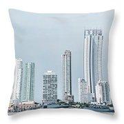 City Skyline, Bocagrande, Cartagena Throw Pillow