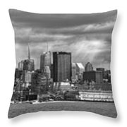 City - Skyline - Hoboken Nj - The Ever Changing Skyline - Bw Throw Pillow
