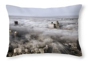 City Skyscrapers Above The Clouds Throw Pillow