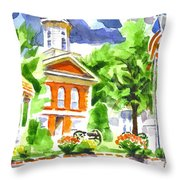 City Square In Watercolor Throw Pillow