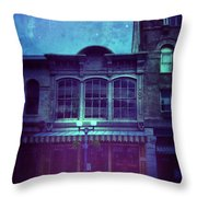 City Street At Night Throw Pillow
