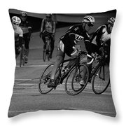 City Street Cycling Throw Pillow