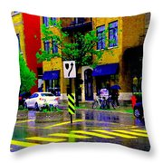 City Street Relections In The Rain Quebec Art Colors And Seasons Montreal Scenes Carole Spandau Throw Pillow