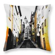 City Street Scene Black And Yellow Photograph Throw Pillow
