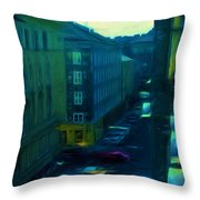 City Streets Digital Painting Throw Pillow