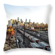 City Up The Tracks Throw Pillow