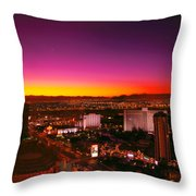 City - Vegas - Ny - Sunrise Over The City Throw Pillow by Mike Savad