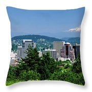 City With Mt. Hood In The Background Throw Pillow