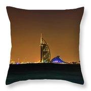 Cityscape At Night, Burj Al Arab Hotel Throw Pillow