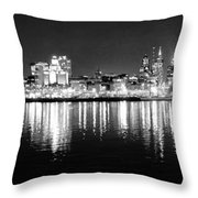 Cityscape In Black And White - Philadelphia Throw Pillow
