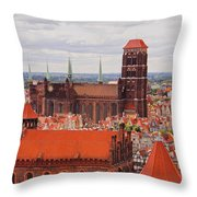 Cityscape Of Gdansk Throw Pillow
