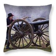Civil War Reenactor Firing A Revolver Throw Pillow