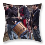 Civil War Reenactors With Drum And Fife Throw Pillow