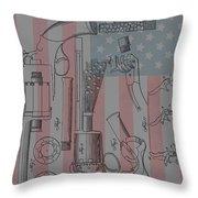 Civil War Revolver American Flag Throw Pillow