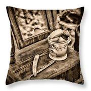 Civil War Shaving Mug And Razor Black And White Throw Pillow