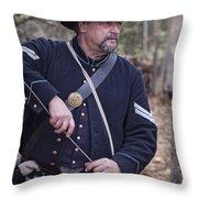 Civil War Union Soldier Reenactor Loading Musket Throw Pillow