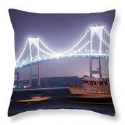 Claiborne Pell Bridge At Night Throw Pillow