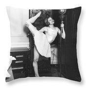 Clair Luce Exercising On Radio Throw Pillow
