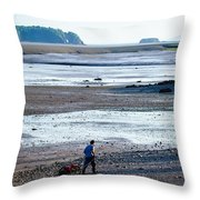 Clam Digger With Wagon Throw Pillow