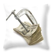 Clamp Putting Pressure On American Money Concept Throw Pillow