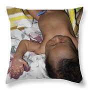 Clamp Tied To Umbilical Cord Of A 5 Day Old Indian Baby Boy Throw Pillow