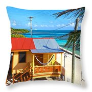 Clapboard Houses On Caye Caulker Belize Throw Pillow