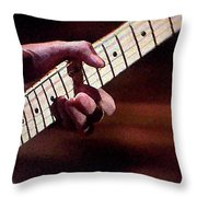 Clapton Playing Guitar - Watercolor Painting Throw Pillow