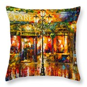 Clarens Misty Cafe Throw Pillow by Leonid Afremov